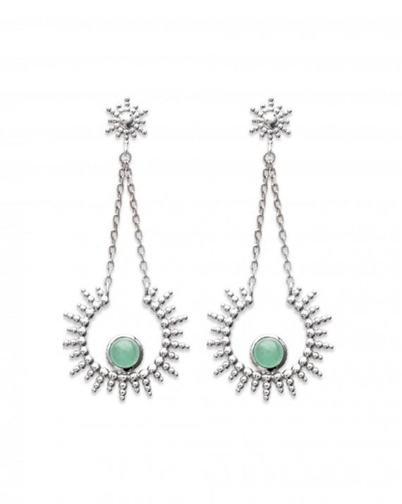 Boucles d'oreilles solaire argent 925 pierre verte aventurine - Bijoux créateur Paris - Madame Vedette