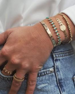 Bracelet chaîne plaqué or perles et turquoises - Bijoux créateur tendance Instagram - Madame Vedette