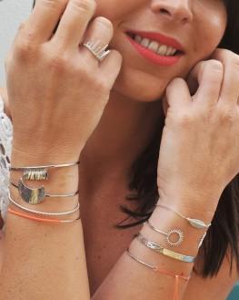 Bracelet jonc ouvert en argent 925 motif soleil - Bijoux créateur idée cadeau femme - Madame Vedette