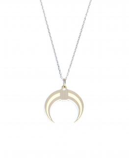 Collier chaîne argent 925 pour femme pendentif corne intérieur blanc - Madame Vedette