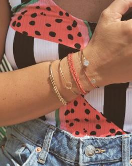 Nouveauté bracelet femme jonc ouvert plaqué or et pampilles - Bijoux de créateur - Madame Vedette