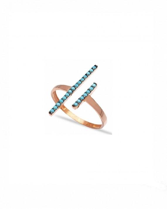 Bague ouverte plaqué or collection double barre et turquoises - Bijoux créateur mode - Madame Vedette