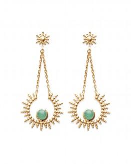 Boucles d'oreilles solaire dorées à l'or fin et aventurine - Bijoux créateur idée cadeau - Madame Vedette