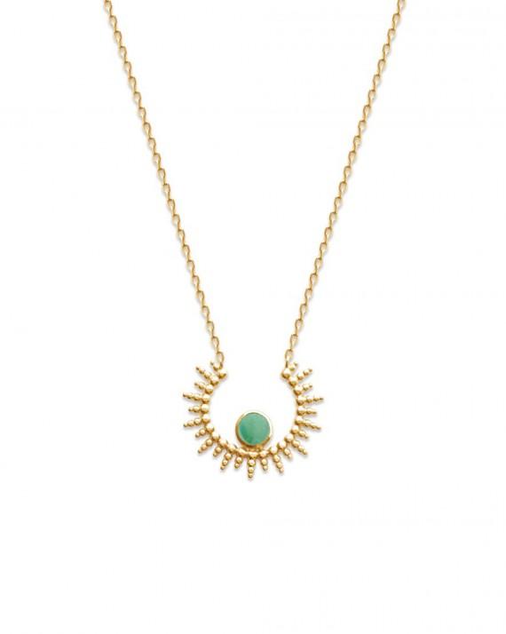 Collier chaîne plaqué or pendentif solaire et aventurine - Bijoux créateur tendance mode Instagram - Madame Vedette