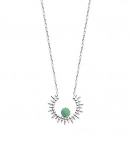 Collier chaîne motif solaire argent 925 et aventurine - Bijoux créateur idée cadeau - Madame Vedette
