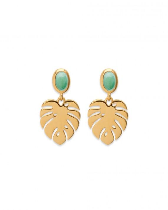 Boucles d'oreilles plaqué or collection jungle et aventurine - Madame Vedette, bijoux fantaisie tendances